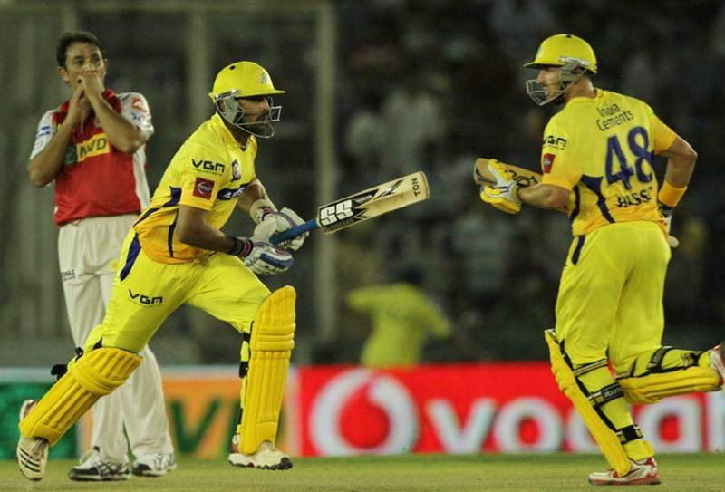 Murali Vijay with Michael Hussey CSK