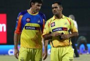 MS Dhoni with Stephen Fleming