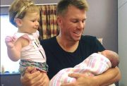 David Warner with his two Daughters