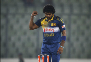 Lasith Malinga of Sri Lanka celebrates