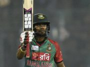 Sabbir Rahman acknowledges the crowd after half century