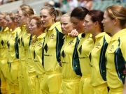 Australia women players line up for the anthem
