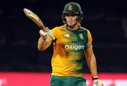 David Miller celebrates his 50 runs SA v Aus