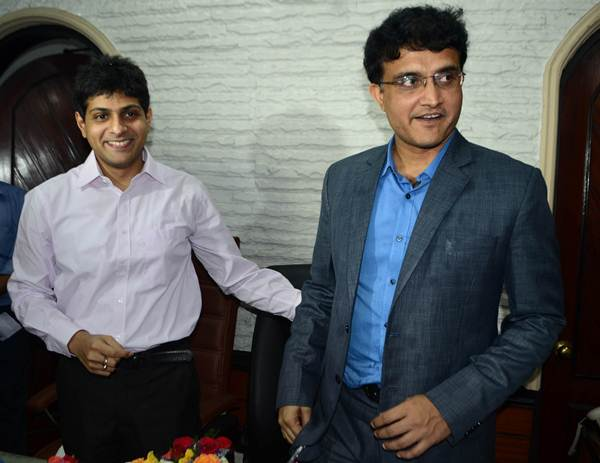 Abhishek Dalmiya, son of late Jagmohan Dalmiya and Saurav Ganguly.