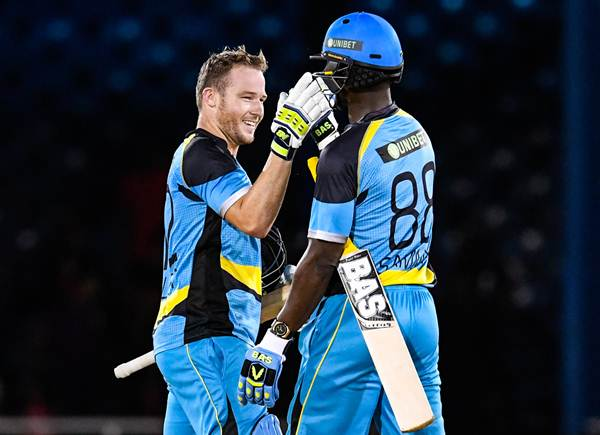 Port of Spain , Trinidad And Tobago - 29 June 2016; David Miller (L) and Darren Sammy (R) of St Lucia Zouks celebrate winning Match 1 of the Hero Caribbean Premier League between Trinbago Knight Riders and St Lucia Zouks at the Queen's Park Oval in Port of Spain, Trinidad. (Photo By Randy Brooks/Sportsfile via Getty Images)
