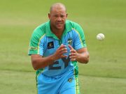 PERTH, AUSTRALIA - DECEMBER 15: Andrew Symonds of the Legends XI fields a return throw during the Twenty20 match between the Perth Scorchers and Australian Legends at Aquinas College on December 15, 2014 in Perth, Australia. (Photo by Paul Kane - CA/Cricket Australia/Getty Images)