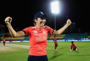 DHARAMSALA, INDIA - MARCH 24: Charlotte Edwards, Captain of England celebrates her sides win against the West Indies during the Women's ICC World Twenty20 India 2016 match between England and the West Indies at the HPCA Stadium on March 24, 2016 in Dharamsala, India. (Photo by Matthew Lewis-IDI/IDI via Getty Images)