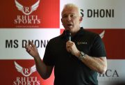Former Australian cricketer Craig McDermott speaks during a promotional event in New Delhi on July 20, 2016. Former Australia cricketer Craig McDermott