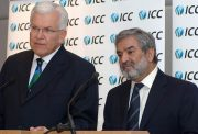 Dubai, UNITED ARAB EMIRATES: International Cricket Council (ICC) President Ehsan Mani (R) and Chief Executive Malcolm Speed, give 15 February 2006 a press conference in Dubai in which they announced plans to stage a Twenty20 World Cup in September 2007. The International Cricket Council (ICC) announced plans on Wednesday to stage a Twenty20 world championship in September 2007. World cricket's governing body also said it wanted to scrap the controversial super-sub rule in one-day internationals. The Twenty20 cricket, it is a form of one-day cricket in which each team bats for a maximum of only 20 overs, contrasting with 50 overs for a standard one-day match. This means a game can be completed in about three hours, making it more palatable for children and families than longer matches. AFP PHOTO/HAIDER SHAH (Photo credit should read HAIDER SHAH/AFP/Getty Images)