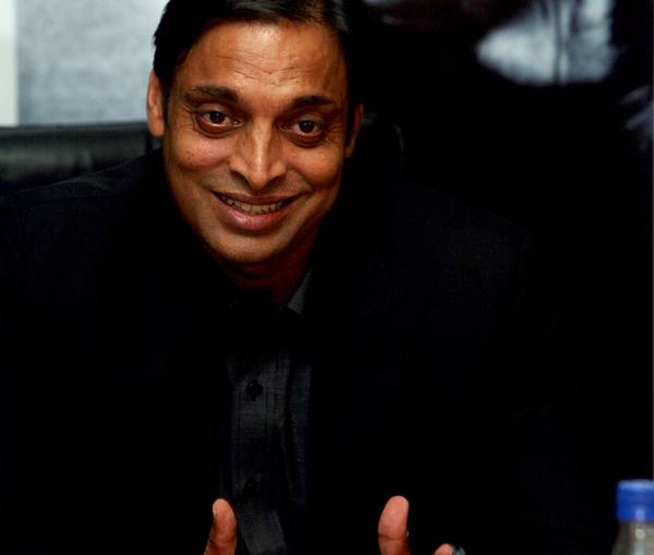 "Pakistani cricketer Shoaib Akhtar during release of his autobiography ""Shoaib Akhtar Controversially Yours"" at a function in New Delhi on Friday. (Photo by Qamar Sibtain/India Today Group/Getty Images)"