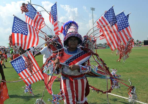 A girl from a local carnival band performs at the Central Broward Regional Park Stadium Turf Ground in Lauderhill, Florida. (Photo by JEWEL SAMAD/AFP/GettyImages)