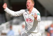 Gareth Batty of Surrey celebrates taking the wicket of John Simpson of Middlesex during the Specsavers County Championship Division One match between Surrey and Middlesex at the Kia Oval Cricket Ground, on May 15, 2016 in London, England.