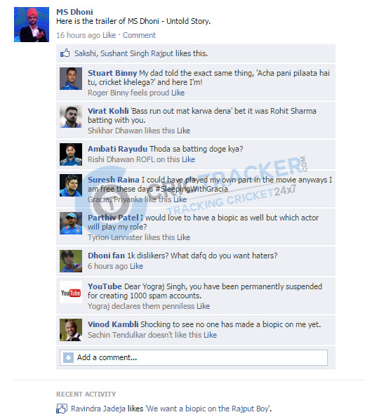 MS Dhoni biopic fake Fb wall