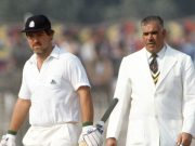 Mike Gatting with Pakistan umpire Shakoor Rana