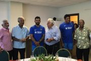 Virat Kohli with Sir Garry Sobers, Sir Everton Weekes, Anil Kumble, Gordon Greenidge, Farokh Engineer, Karsan Ghavri