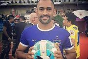 MS Dhoni during ISL opening ceremony (Photo Source: Twitter)