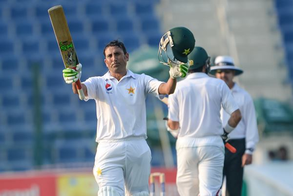 ABU DHABI, UNITED ARAB EMIRATES - OCTOBER 21: Younis Khan celebrates his century during Day One of the Second Test between Pakistan and the West Indies at the Zayed Cricket Stadium on October 21, 2016 in Abu Dhabi, United Arab Emirates. (Photo by Ineke Zondag/Getty Images)