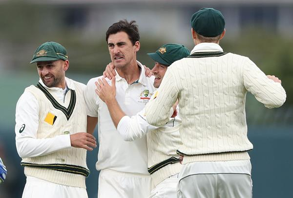HOBART, AUSTRALIA - NOVEMBER 12:  Mitchell Starc of Australia celebrates after taking the wicket of Jean-Paul Duminy of South Africa during day one of the Second Test match between Australia and South Africa at Blundstone Arena on November 12, 2016 in Hobart, Australia.  (Photo by Robert Cianflone/Getty Images)