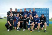 New Zealand players celebrate after winning the third One Day International match between New Zealand and Bangladesh