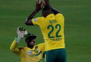 South Africa's Lungi Ngidi celebrates the wicket