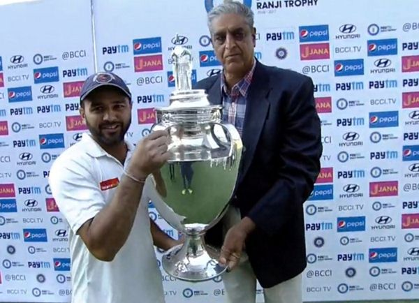 Parthiv Patel with Ranji Trophy 2016-17 cup