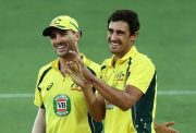 Pat Cummins and Mitchell Starc of Australia