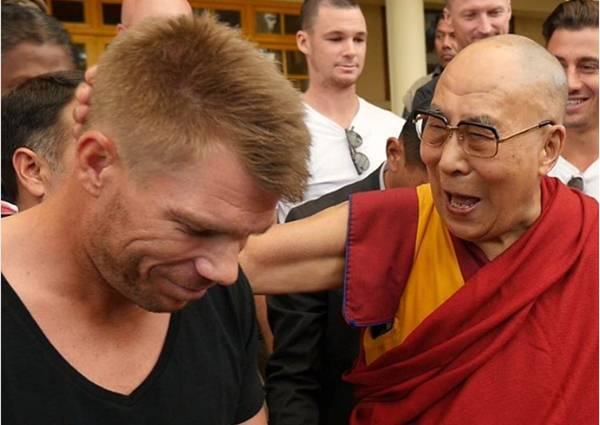 David Warner and the Dalai Lama