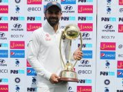 Virat Kohli with the series trophy