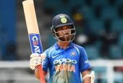 Ajinkya Rahane celebrates after scoring