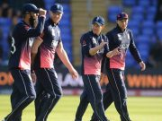 Eoin Morgan of England claps as he leaves the field