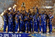 Mumbai Indians celebrate with IPL 2017 trophy IPL 2018