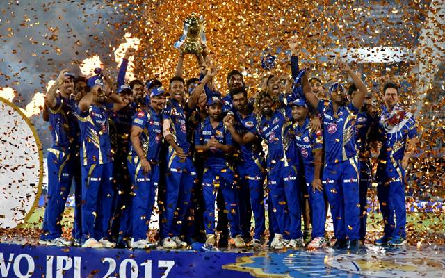 Mumbai Indians celebrate with IPL 2017 trophy