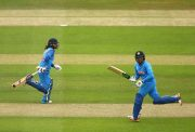 Mithali Raj of India (L) and Veda Krishnamurthy