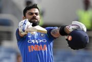 Indian Captain Virat Kohli celebrates his century. (Photo Source: Twitter)