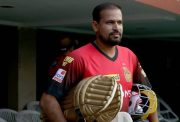 Yusuf Pathan attends the training session.