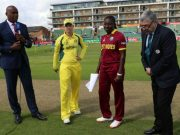 Stafanie Taylor of West Indies and Meg Lanning at the toss