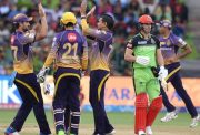 Sunil Narine of Kolkata Knight Riders celebrates fall of Ab de Villiers' wicket.