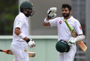Opener Azhar Ali of Pakistan celebrates after scoring 100