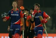 Corey Anderson and Chris Morris of Delhi Daredevils Sunrisers Hyderabad