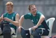 England captain Eoin Morgan and Sam Billings share a joke