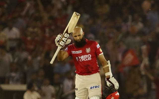 Hashim Amla of Kings XI Punjab celebrates his century