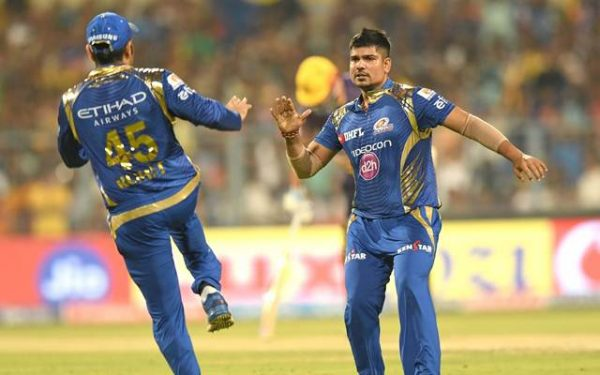 Karn Sharma of Mumbai Indians celebrates fall of a wicket