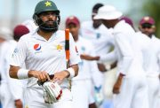 Misbah ul Haq of Pakistan dismissed by Jason Holder of West Indies