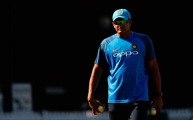 India's head coach Anil Kumble attends a practice session