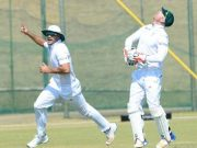 Heinrich Klaasen and Aiden Markram of South Africa A celebrate the wicket of Sudip Chatterjee of India A