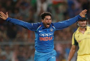 Kuldeep Yadav celebrates his hat-trick