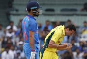Nathan Coulter-Nile of Australia celebrates the wicket of Virat Kohli
