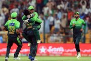 Pakistan hug the hat-trick hero Fahim Ashraf