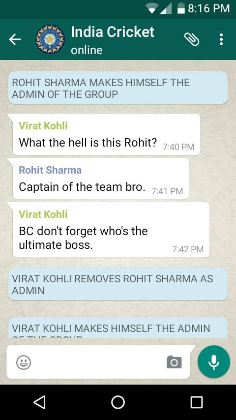 Fake WhatsApp Chat: Rohit Sharma is the new admin of the