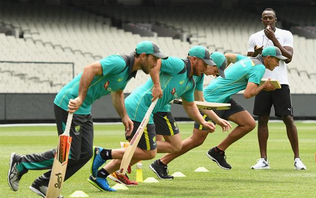 Usain Bolt trains Australia batsmen ahead of the Ashes